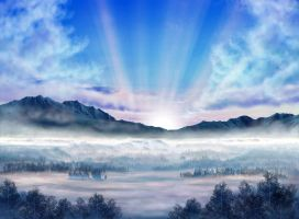 BG Stock 09 - Misty Sunrise by ArnaTornwolf