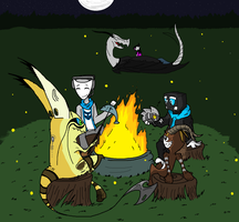 Campfire with Deviant friends by CPtheLunarGoat
