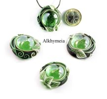 Dew Drop in Green 5 by Alkhymeia