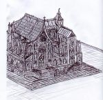 Gothic Cathedral Drawing by Liebatron