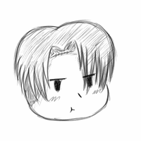 Levi Ackerman Chibi Head (attempt 1) by OtakuTheUnicorn