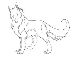 Wolf Lineart - Alaster by KyriaDori