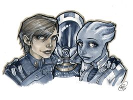 Shepard, Tali, and Liara by AdamWithers