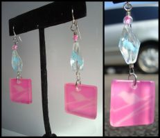 blue and pink square earrings. by sheshechan
