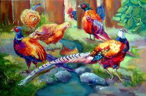Pheasants by Strangepictures
