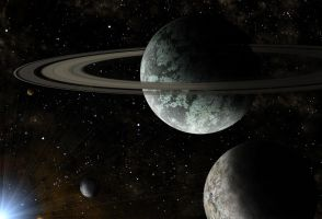 green planet with rings by Johndoop