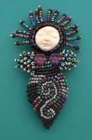 Midnight Beaded Goddess Pin by jardan