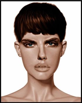 Pretty female mixed face by technoborg