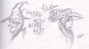Theodora and Wicked Witch Sketch by SorinCrecens