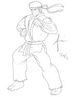 Ryu Street Fighter (Lineart) by Ajanime22