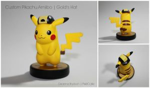 Gold Hat Pikachu | Custom Amiibo Figure by PixelCollie
