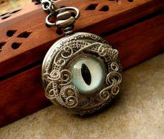 Wire Wrap - Pocket Watch Eye Time Piece in Snow by LadyPirotessa