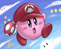 Kirby Super Mario Hat (2009) by spoonyliger