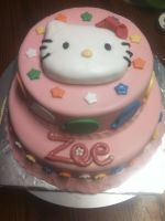 Hello Kitty Baby Shower Cake by Qess