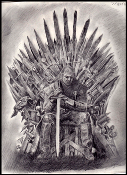 Ned Stark on the Iron Throne (Game of Thrones) by WesterosRaven