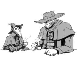 Bloodborne: Eileen and Gascoigne coffee by MenasLG