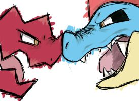 Druddigon VS Feraligatr by Grunlayer