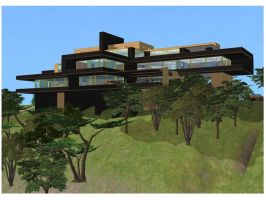 Sims 2 Modern Black and Yellow Hillside Mansion by RamboRocky