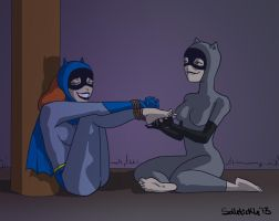Batgirl tickled by Catwoman by solletickle