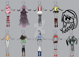 Outfit Adopt 19-27 (OPEN) CHEAP!! 55 points each!! by LightChrome-Chan