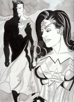 Wonder Woman and Superman by nathanobrien