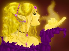 LunaVeil The gold Fairy by Mythtress