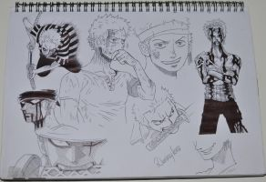 Roronoa Zoro Ballpoint Sketches by DummyForce