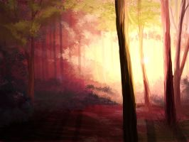 Forest at dawn by Noire-Ighaan