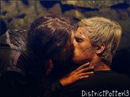 Katniss and Peeta Kiss In The Cave by DistrictPotter13