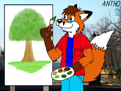 Painting at the park. by AnthoFur
