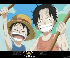 Luffy and Ace by julius17