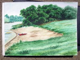 watercolor study lake lewisville by xensoldier