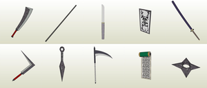 10 Ninja weapons Papercraft [DOWNLOAD] by SIBOR270898