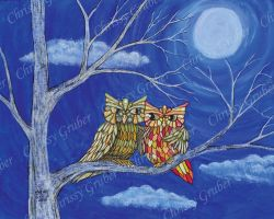 Patchwork Owl Couple by Mistress-Crow