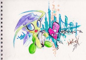 Traditional Art - Urban Celebi by Adept-eX