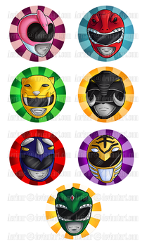 Power Rangers buttons by AerianR
