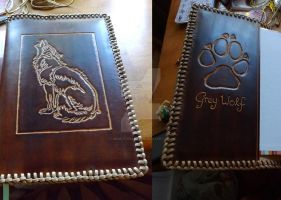 Grey Wolf - Handcrafted Leather Notebook Cover by gRiM-sTrEaKeR