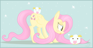 Fluttershy and her poros by Balloons504