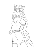 Catgirl Lineart 1 by sailorharmony2000