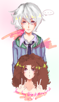 Request Akise Aru + Brown hair girl by AlisonOT