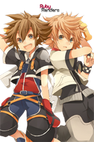 Sora and Roxas Render by Ruby by SpinelNightmare