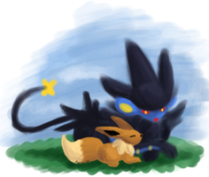 Luxray and Eevee Relaxing by TheSplashingMAGIKARP