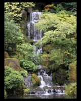 Japanese Gardens - Waterfall by lilith-darkmoon