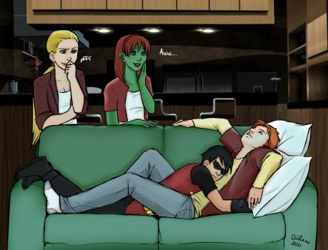 Kid Flash X Robin   Couch Cuddles C2 by DuoLoverRed