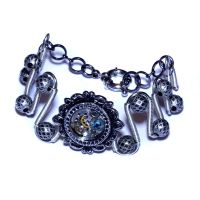 Steampunk Bracelet - Dark Aqua swarovski crystal by CatherinetteRings