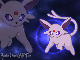 ...::Espeon WALLPAPER::... by Ryuniek