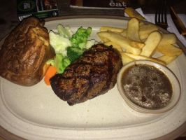 Filet Mignon with Yorkshire Pudding and Fries by nosugarjustanger