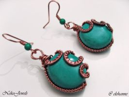 Copper and turquoise earrings by Elehanne