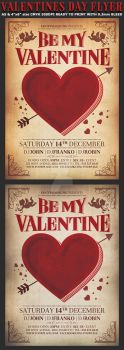 Valentines Day Vintage Flyer Template by Hotpindesigns