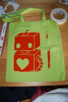 orange and green ROBOT BAG by FiveandDive